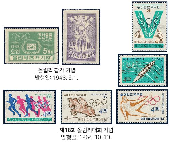 올림픽 관련 우표들